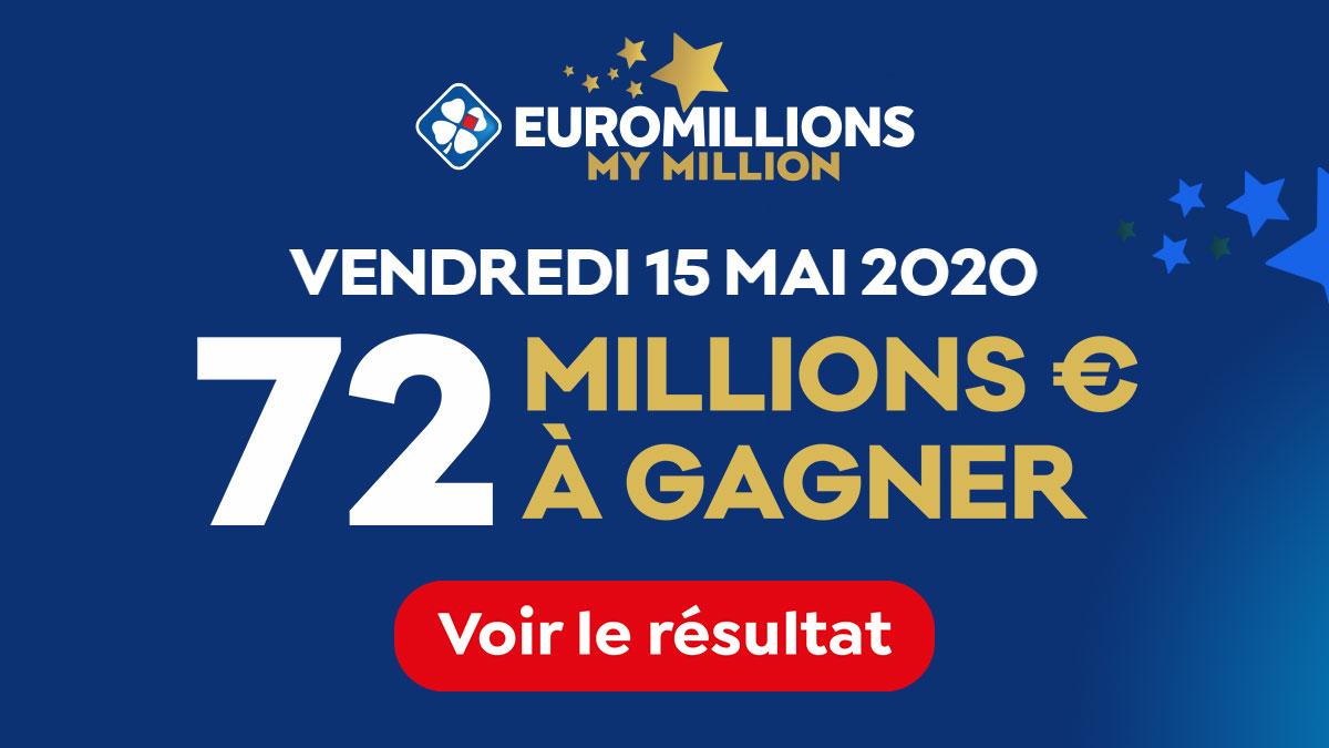 Résultat du tirage de l'Euromillions du vendredi 15 mai 2020